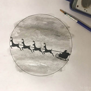 STEP-1-Santa-Sleigh-Silhouette-Watercolor-Painting