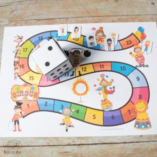 fun circus themed board game for playing with preschoolers