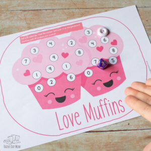 Love Muffins Valentine's Roll and Cover Game for Preschoolers