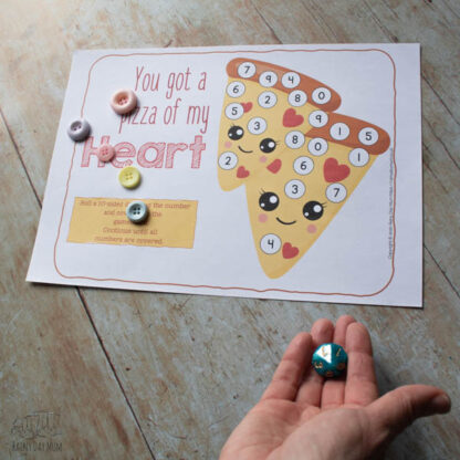 Roll and Cover Valentine's Number Game for Preschoolers