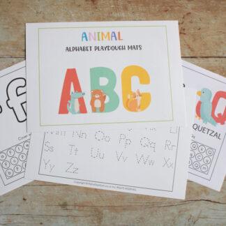 Animal ABC Letter Learning Playdough Mats