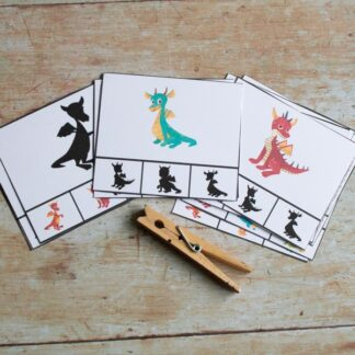 set of 12 dragon shadow matching clip cards