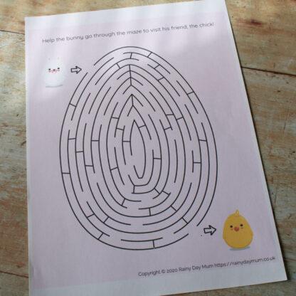 easter egg maze for kids