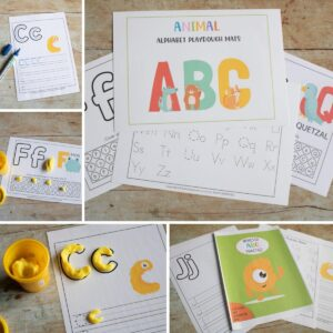 Bundle of Monster and Animal ABC Playdough and Tracing Activity Mats for Toddlers and Preschoolers
