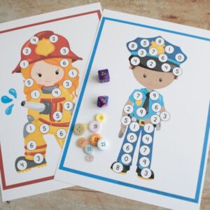 print and play emergency worker roll and cover maths game for preschoolers