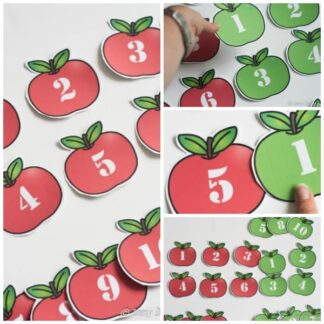red and green apples printable with numbers 1 to 10 on for number bonds and counting activities with preschoolers