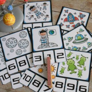 Fun Cartoon Space Themed Count and Clip Cards Numbers 1 to 10