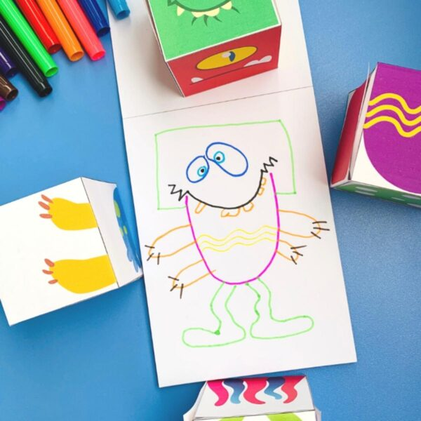 crazy monster free printable drawing cube game for kids