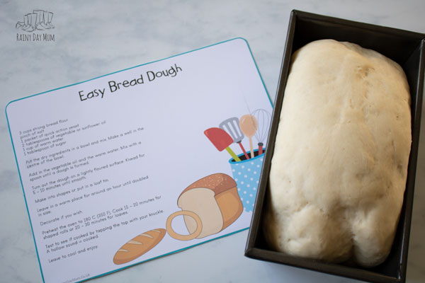 bread dough recipe card for parents, carers and educators to use with kids