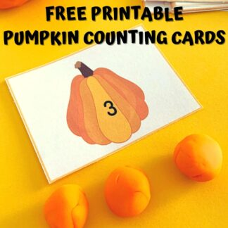 printable pumpkin counting card with 3 balls of playdough text reads FREE Printable Pumpkin Counting Cards