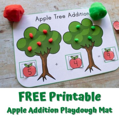 apple tree addition playdough mat in use to add 5 red apples and 4 green apples to make 9 apples