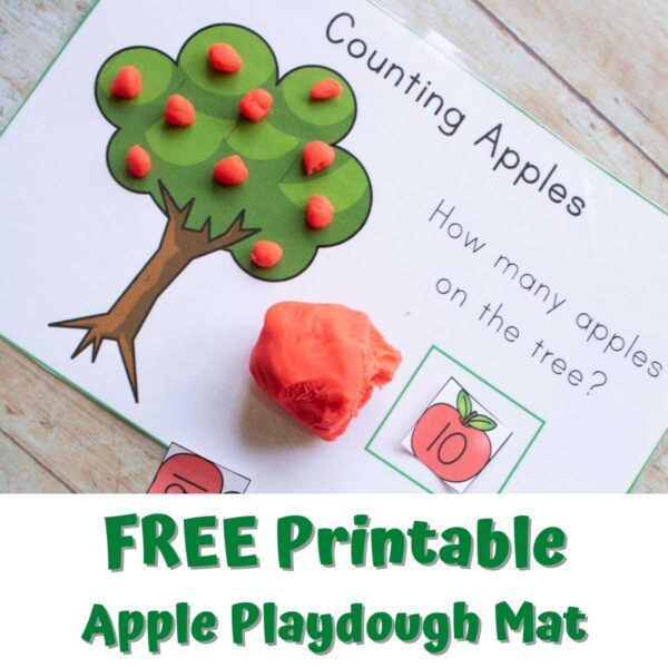 image of a printable apple tree counting playdough mat with text below that reads FREE Printable Apple Playdough Mat