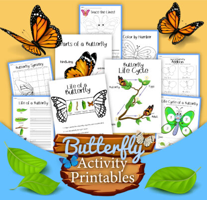 pages shown from the butterfly life cycles activity printable pack from Rainy Day Mum includes maths, writing and science printables for preschoolers and primary children