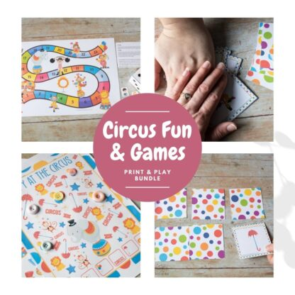 Collage of 3 Printable Circus themed Games for Preschoolers to Print and Play, featured a board game, ispy, snap and memory cards. Text in the centre reads Circus Fun & Games Print and Play Bundle