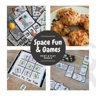 collage of some of the contents of the space fun and games print and play bundle. Include, space count and clip cards, space tic tac toe, dominoes and a bonus recipe card for space rock buns