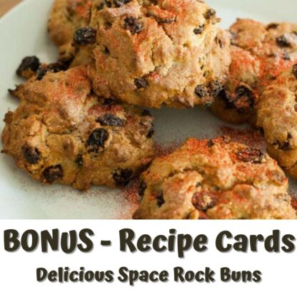 a set of 4 space themed rock buns on a plate with glitter dust on. text on the image reads bonus recipe cards delicious space rock buns