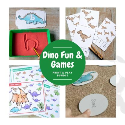 Dinosaur Fun and Games collage of print and play activities, abc dinosaur set of letters for use with a salt tray, t-rex count and clip cards, dinosaur ispy and a egg and dinosaur hatching first 100 sight words game