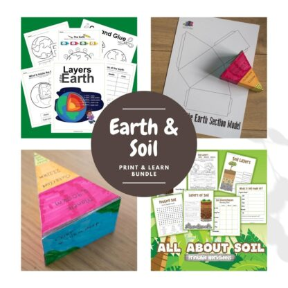 printable pack of activities and resources for learning about the layers of the earth and soil