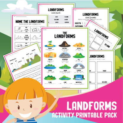 preview of the landforms printable pack from rainy day mum includes a landforms information sheet and more