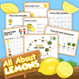 preview of the previews of the All about Lemons Activity Pack from Rainy Day Mum, a quick download for a lemon flavour taste test, life cycle learning and sequencing activities for Kids