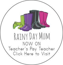 Rainy Day Mum Branded image with text saying Now on Teacher's Pay Teachers Click here to visit
