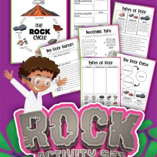 Preview of the pages of a rock cycle activity pack including a testing sheet ideal for hands-on rock sample work with primary key stage 2 children.