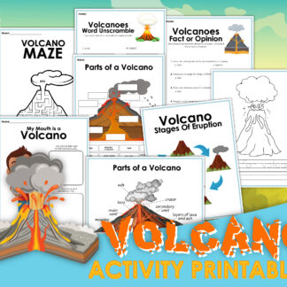 preview of the printable pages from a volcano activity pack for kids includes parts of the volcano, stages of eruption and more