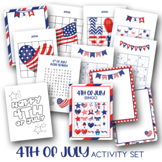 Preview of the 4th of July Activity Pack showing just some of the activities you can find inside including colouring page, bingo game, jigsaw puzzles and multiple versions of sudoku for the whole family to enjoy